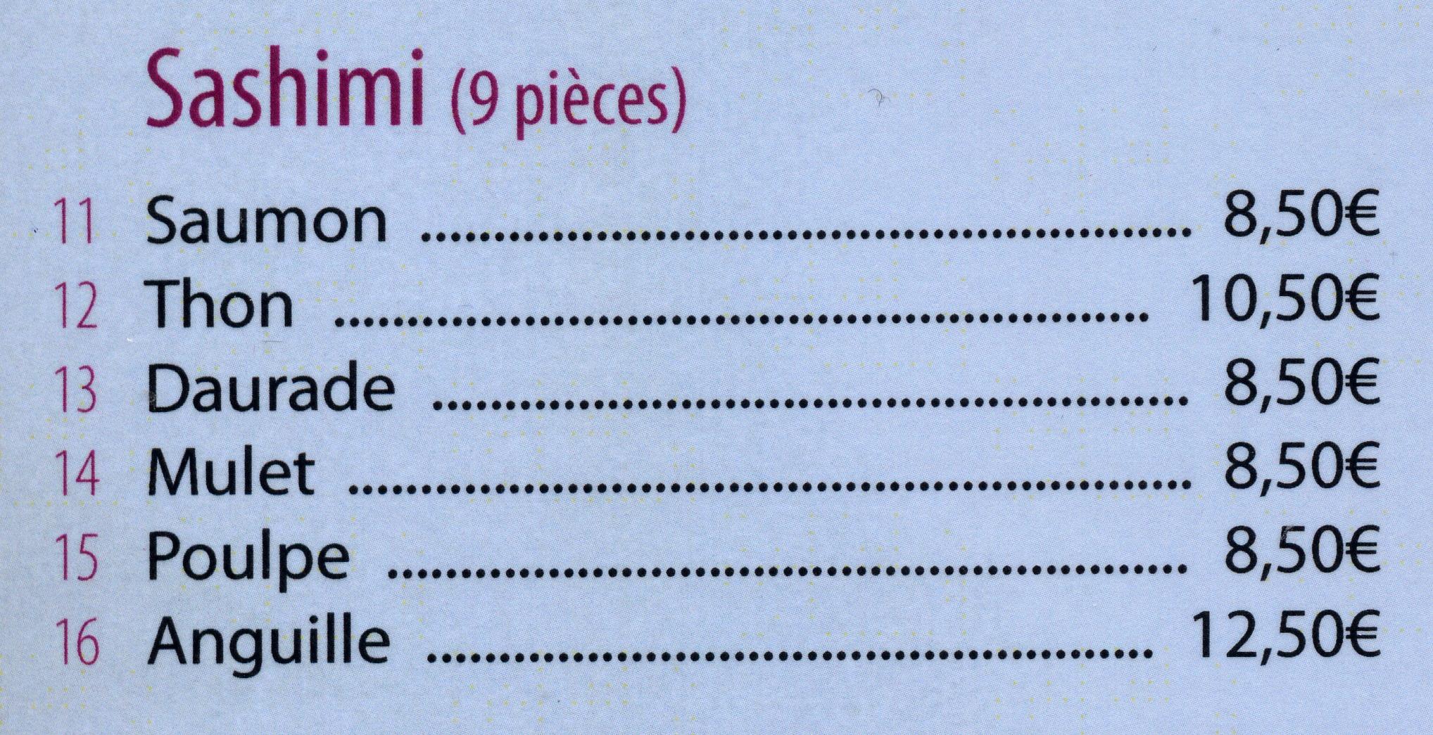 menu à la carte sashimi