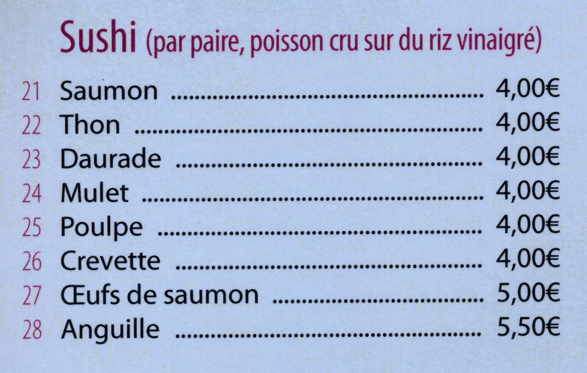 menu à la crte sushi